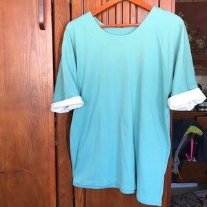 Tops - 1X greenish blue Tshirt